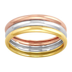 18 Kt. Three tone white , yellow and pink gold wide wedding band ring. size 54/N width 6.15mm