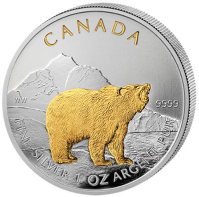 "Canada - 5 dollars 2011, ""Wildlife Grizzly"", partially gold-plated - 1 oz of silver"