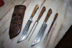 Superb hunting set of knives dagger & forks Jesuits symbols on leather case dates & inscriptions rare