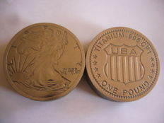 1 POUND (16 OZ ) TITANIUM USA LIBERTY COIN