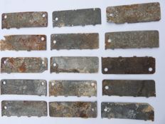 Unique lot of 15 pieces of unearthed half German STALAG POW plates of presumably killed prisoners of war