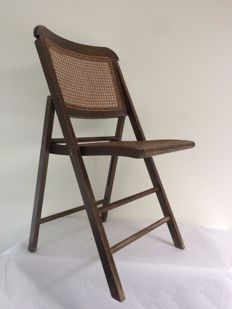 Folding chair with wicker seat, mid-20th century