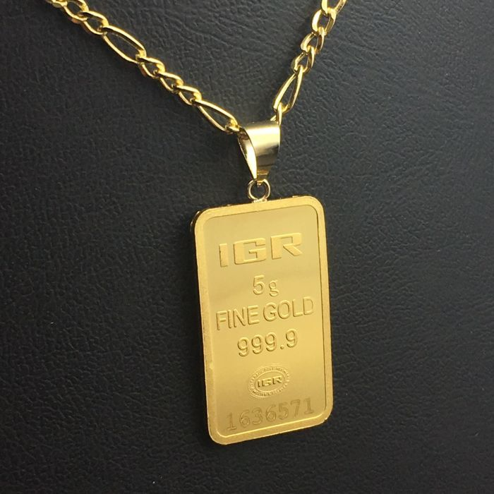 5 G Fine Gold Bullion Bar Pendant + 14 K Gold Chain
