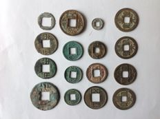 China – 16 AE coins, Pre Qin (starting from 350 B.C.) to Tang 907 A.D.