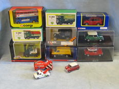 Corgi - Scale 1/36-1/50 - Lot with 11 models: Mini, Routemaster, Ford, AEC & Toyota