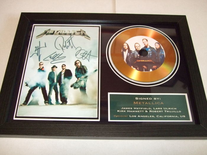 Metallica Preprinted Autographs, Gold Disc display