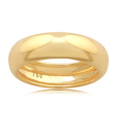 No reserve 18Kt. Yellow gold wide wedding band , size 54/N and 6mm wide