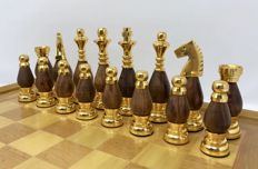 Large Persian chess set in metal and wood