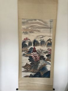 A scroll painting with a mountain view – China – late 20th century