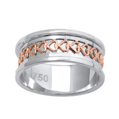18 K Two tone wide wedding white  gold ring with pink gold heart pattern design , size 54/N