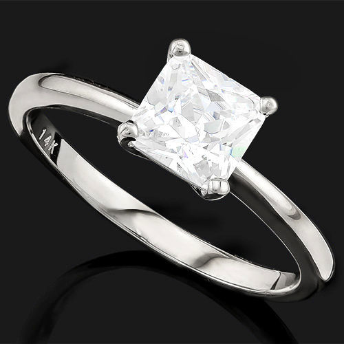 14KT Solid  White  Gold Ring with created moissanite  - US size 7.5