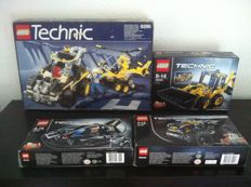 TECHNIC - 42002 + 8286 + 42004 + 42034 - Hovercraft +. 	3-In-1 Car + Mini Backhoe + Quad Bike