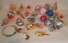 Collection of old coloured glass Christmas baubles.