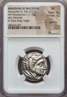 Greek Antiquity - Kingdom of Macedon - Alexanter the Great. Rare Issue Tetradrachm. NGC XF 4/5 - 3/5, circa 323-320 BC, The portrait of Heracles is virtually a perfect strike.