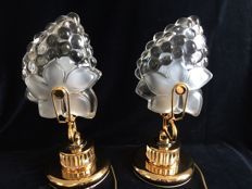 Two table lamps on brass base and with crystal lampshade in bunches of grapes version, 2nd half of the 20th century