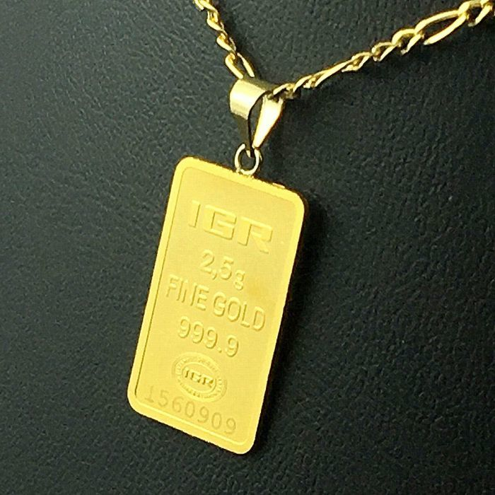 2.5 G Fine Gold Bullion Bar  Pendant + 14 K Gold Chain