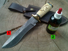 1 large Damascus Steel Hunting Knife / outdoor/camping - total length: 31 cm + 100 ml Camellia care oil for the care of the blade and the handle