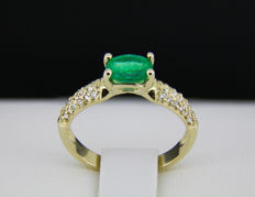 1 ct. emerald 14k gold ring with diamonds 0.14 ct. * Free shipping * No Reserve * Free Resizing *