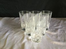 6 crystal glasses for orangeade by Christofle, Cluny model, circa 1970