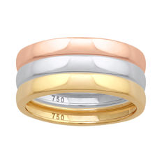 18Kt. brand new white , pink & yellow gold (Set of 3) wedding bands, size N/54, 2.80mm width each - no reserve