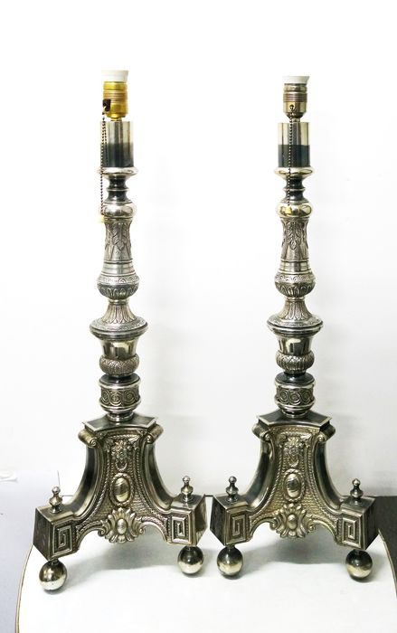Pair floor lamps, Baroque style, approximately early 20th century.