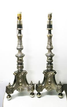 Pair of floor lamps, Baroque-style lamps