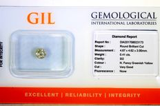 Diamond - 0.41 ct - SI2 - Fancy Greenish Yellow - No Reserve Price