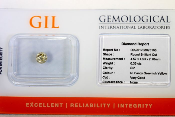 Diamant  0.35 ct - SI2 - Fancy Greenish Yellow - Zonder Reserve Prijs