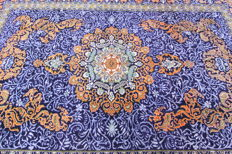 Fine Persian carpet Isfahan 3.73 x 2.73 blue / orange  hand-knotted high quality new wool oriental carpet GREAT CONDITION