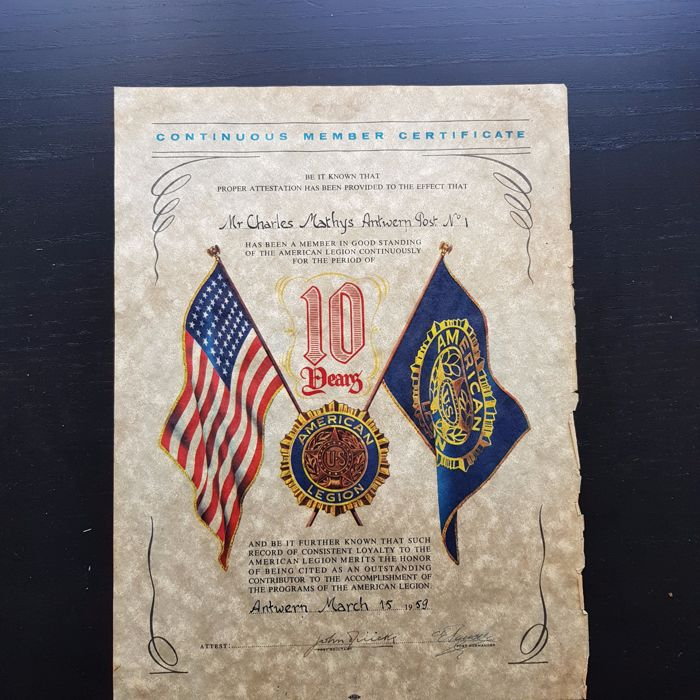 Continuous member certificate 1959 United State