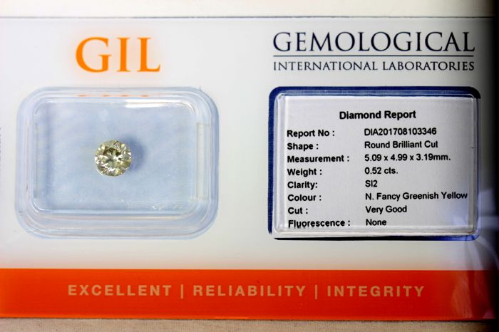 Diamant  0.52 ct - SI2 - Fancy Greenish Yellow
