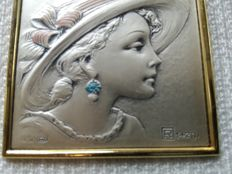 Miniature framed portrait; 925 silver; Italy