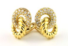 Superb Diamond & Yellow 18k Gold 1970's Escargot Earrings - 100 Diamonds Total +/-5.00CT FG Color/VS Purity- Excellent Condition - *Free Shipping*