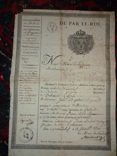 "Royal Passport Louis XVIII August 16th, 1816 - Royal Vignette ""De par le Roi"""