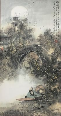 Hand painted scroll of scenery and people - China - late 20th century
