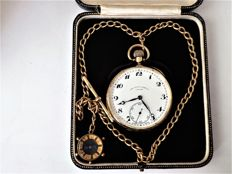 Rolex - retailed by The Alex Clarke Co London -  Swiss gents pocket watch.- with chain - compass { ref no 304}