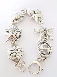 925 silver rhodium-plated strand bracelet with beach theme, length 18.5 cm