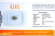 Diamond 0.86 ct - SI1 - Fancy Greenish Yellow - No Reserve Price