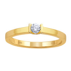 14Kt. Yellow gold solitaire diamond ring set with centre diamond 0.19ct., HI colour and VVS clarity .Ring size 57/Q .Resizing aveilable in antwerp