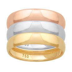 No reserve 18KT  White,Yellow,Pink Gold rings  (Set of 3 bands) wedding bands, size 54/N