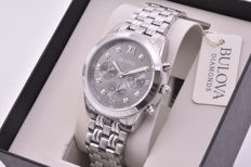 Bulova Diamonds men's chronograph with stainless steel case and strap and diamonds set on the dial