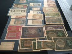 Poland - Collection of banknotes from 1916 to 1936