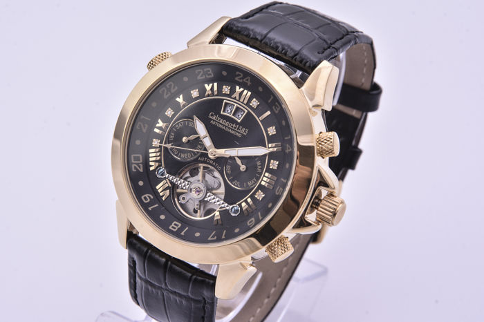 Calvaneo 1583 Astonia Black Diamond Gold - Cassa in Acciaio placcata in Oro 18K con Diamanti nel quadrante.