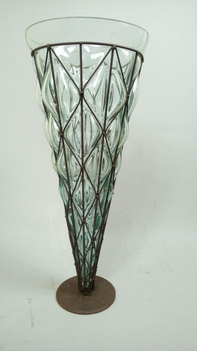 Large Floor Blown Glass Vase In Wrought Iron Can Be Used As