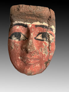 Ancient Egyptian Wooden Mummy Mask - 6.25 Inches
