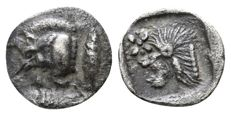 Greek Antiquity - MYSIA, Kyzikos. AR Hemiobol (8mm; 0.35g.) ca 480 BC. (Boar, Tunny, Lion)