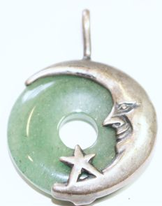 Good luck Pendant/ Amulet with Amazonite in sterling Silver Moon & a Star, Vintage Artisan 1950's
