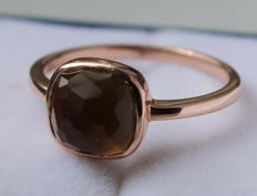 14 kt, rose gold ring set with quartz, ring size 17