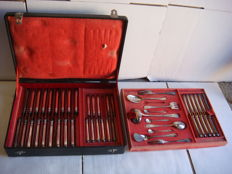 Christofle lot of 50 silver plated metal flatware utensils in a cutlery case