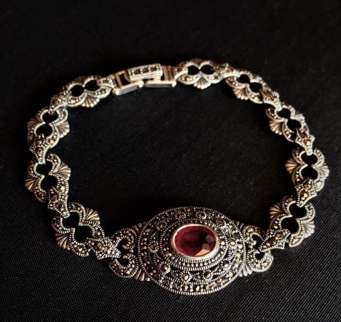 Handmade vintage Ruby, Marcasite Silver 925 bracelet, beautiful work. without Reserve Price